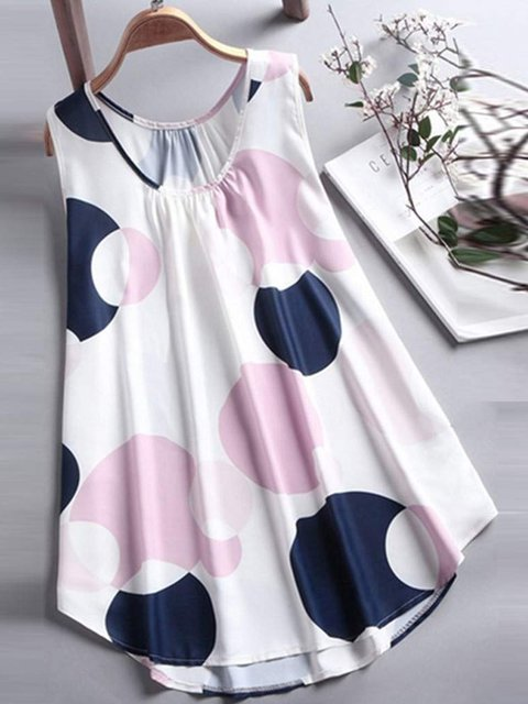 Women Summer Casual Sleeveless Tops Loosed Polka Dots Cozy Blouse