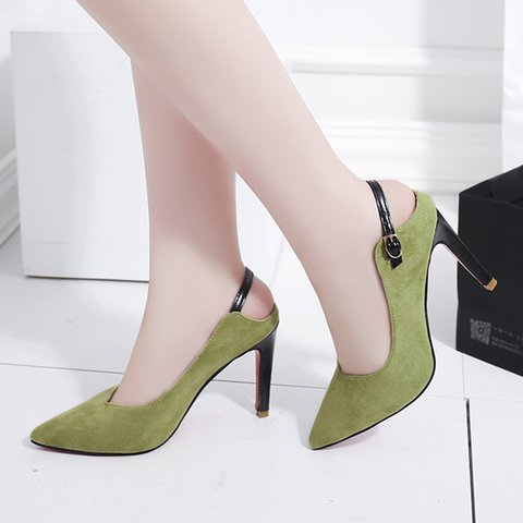 Point Toe Buckle Strap Back Stiletto Heels Women
