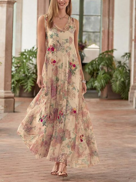 Floral Sweetheart Casual Cotton-Blend Dresses