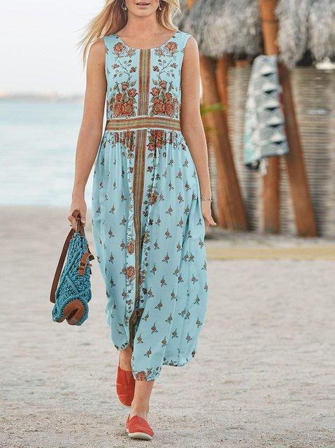 Sleeveless Cotton-Blend Round Neck Dresses