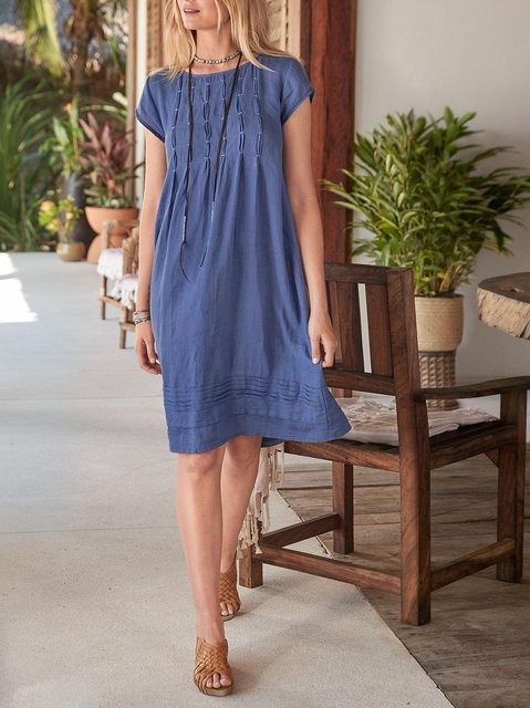 Cotton-Blend Solid Round Neck Casual Dresses