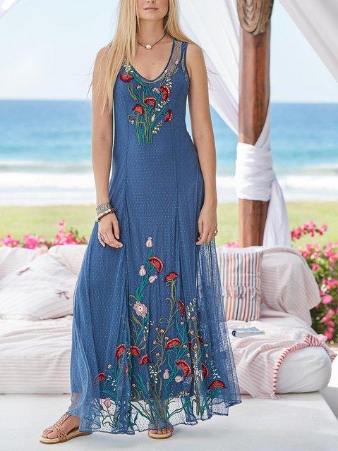 Sweetheart Floral Sleeveless Cotton-Blend Dresses