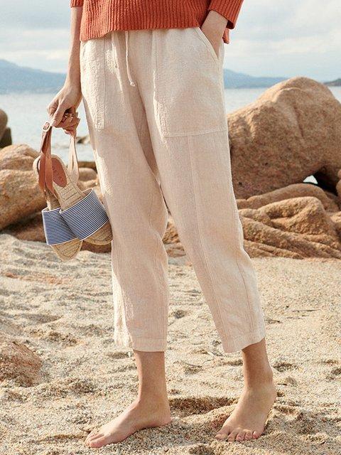 Women Pants Pockets Drawstring Shift Casual Capri Pants