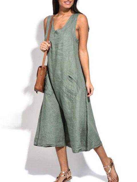 Women Dress Pockets V-Neck Sleeveless Midi Dresses