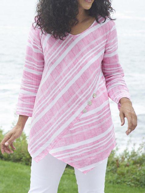 Women Blouses Striped Asymmetrical Paneled Casual Tops