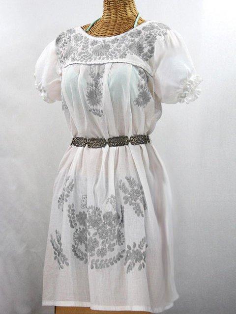 79de394e391 Women s Embroidered Mini Dress Casual Neon Embroidery Crew Neck Dresses