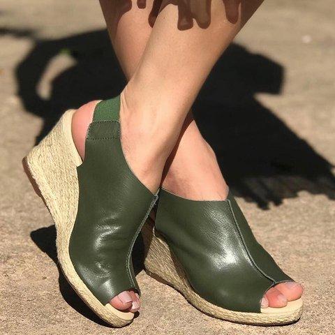 Peep Toe PU Wedges Sandals Women