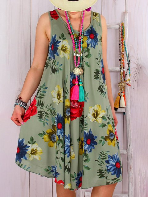 Plus Size Beach Women Summer Midi Floral Dresses
