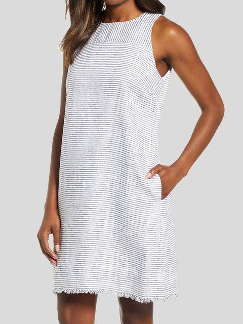 Women Shift Striped Mini Dresses Crew Neck Casual Dresses