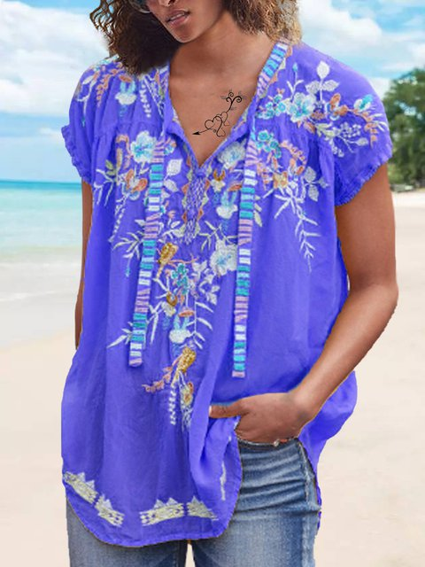 Embroidered Floral Cotton-Blend Short Sleeve Casual Patchwork Blouses