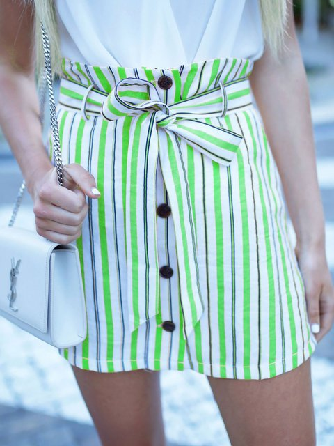 Striped Paneled Sweet Skirts