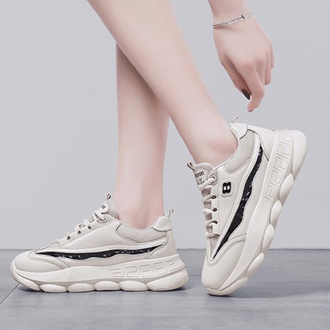 Casual Lace-Up Mesh Fabric Sneakers Women