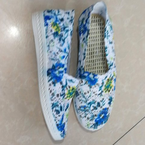 Round Toe Floral Print Hollow-out Slip-On Loafers Women