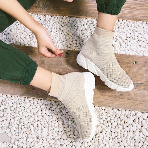 Mesh Fabric Slip-On Sneakers Women