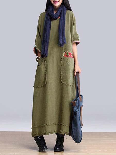 Shift Women 3/4 Sleeve Casual Cotton Pockets Plain Casual Dress