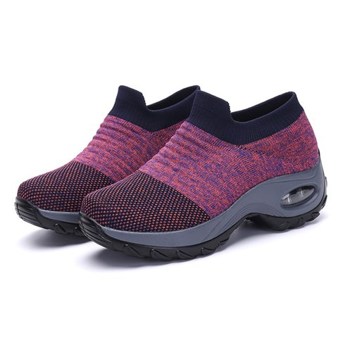 Women's Breathable Fly-Woven Fabric Slip On Sneakers