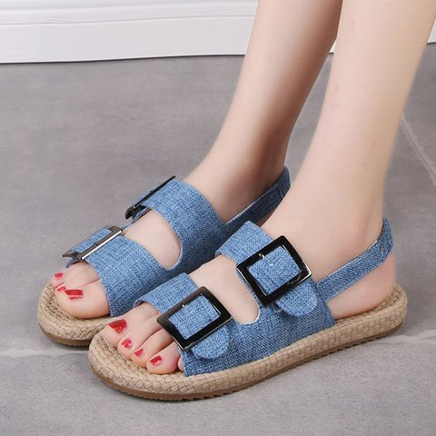 Sweet Style Double Buckle Summer Sandals