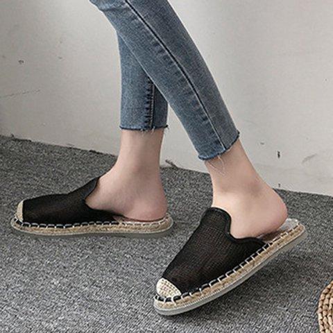 Straw Round Toe Mesh Fabric Slippers Women