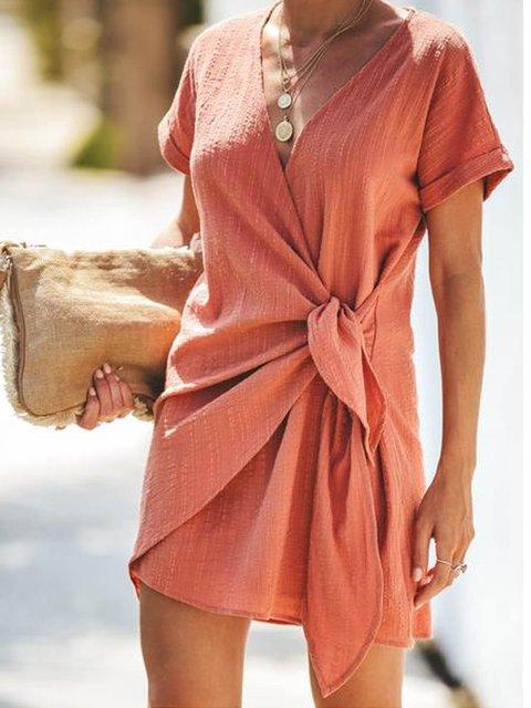 Pink Short Sleeve Cotton-Blend Asymmetric Dresses