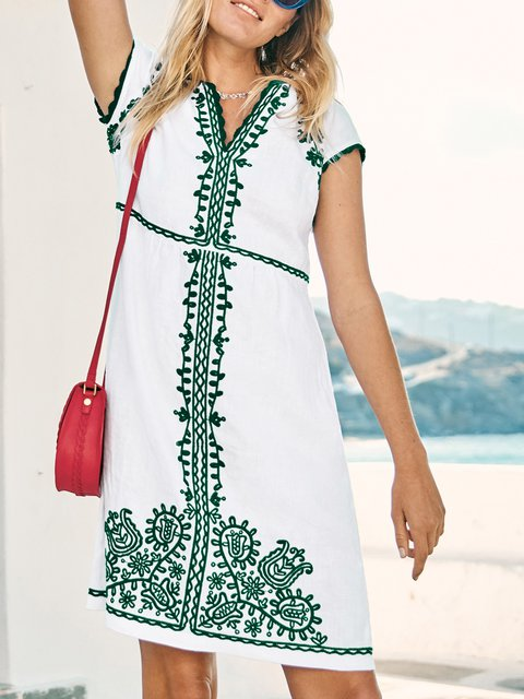 V Neck Women Dresses Going Out Casual Tribal Embroidered Dresses