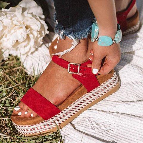 Espadrille Peep Toe Buckle Strap Platform Sandals