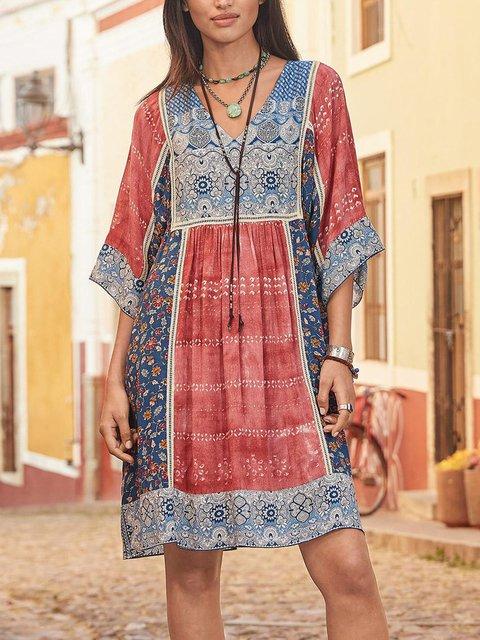 Jacquard V Neck Going Out Cotton Mini Dresses