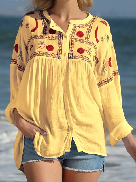 Floral Casual Cotton-Blend Floral-Embroidered Shirts & Blouses