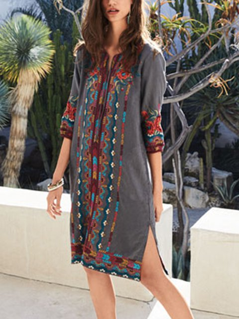 Casual 3/4 Sleeve V Neck Plus Size Printed Dress