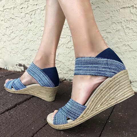 Crossover Strap Front Casual Wedge Sandals Women