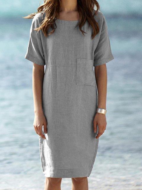 Crew Neck Women Summer Dresses Beach Casual Dresses