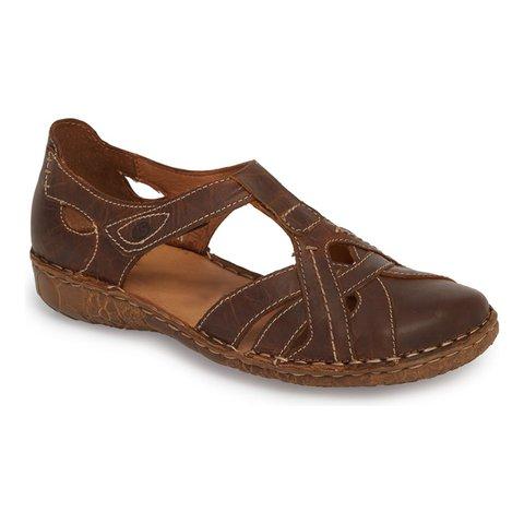 T-Strap Design Magic Tape Sandals Round Toe Vintage Shoes