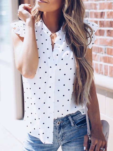 White Ruffled Polka Dots Retro Shirts & Blouses