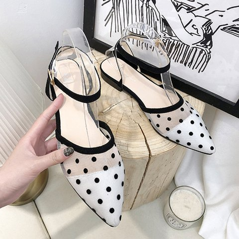 Dot Mesh Pointed Toe Flat Sandals Shoes