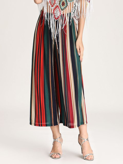 Striped Printed Wide-leg Pants Women's Elastic Waist Loose Casual Pants