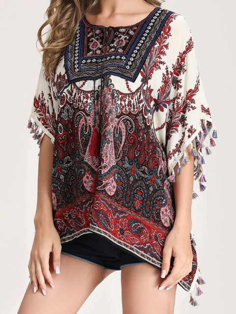 Women's Floral Printing Loose T-shirt Casual U-Neck Short Sleeve Tops