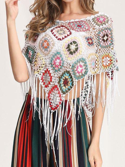 Bohemian Handmade Fringed Small Shawl Women's Sexy Short T-shirt