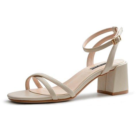 Spring Buckle Open Toe Heeled Cross Strap Sandals