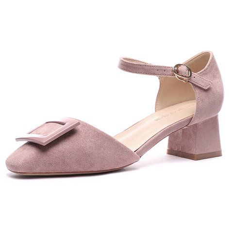 Date Buckle Suede Dress Square Toe Heeled Sandals
