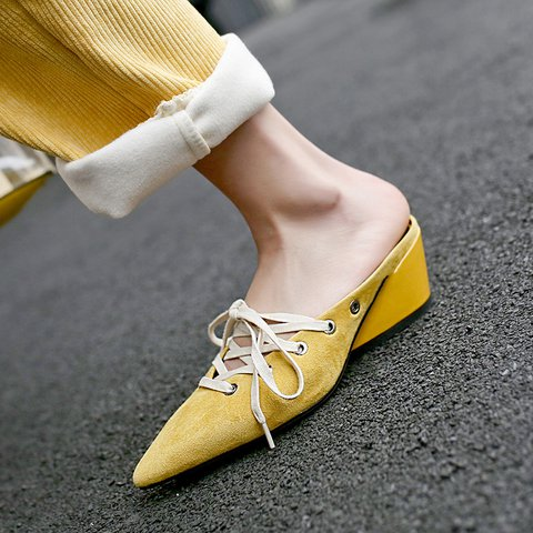 Slip On Ladies Lace Up Pointed Toe Suede Sandals