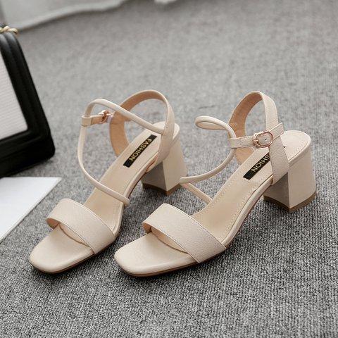 Women Chunky Heel Pumps Casual Open Toe Roman Sandals