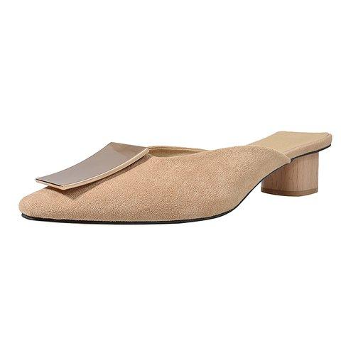 Chic Square Toe Block Heeled Clogs Mules