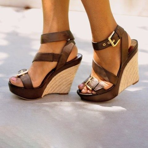 Women Espadrille Wedge Buckle Sandals