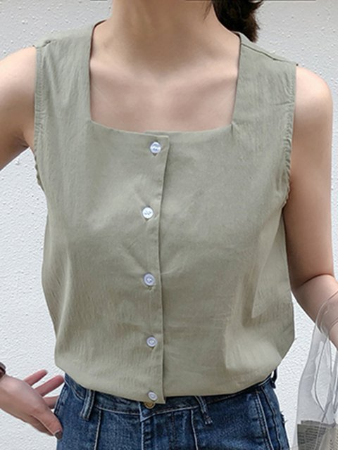 Retro Sleeveless Cotton Square Neck Shirts & Tops