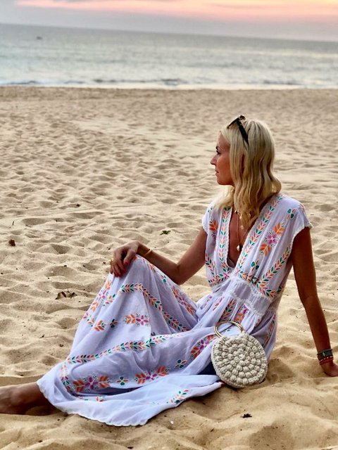 V Neck Women Dresses Swing Beach Cotton Dresses