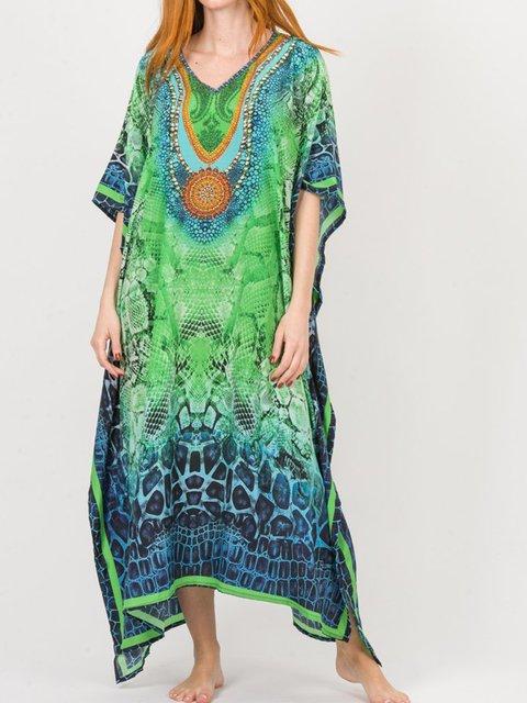 Digital Print Kaftans Women's Beach Caftans Casual Boho Dress