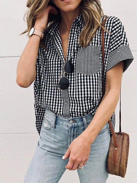 Checkered/plaid Holiday Short Sleeve Shirt Collar Shirt