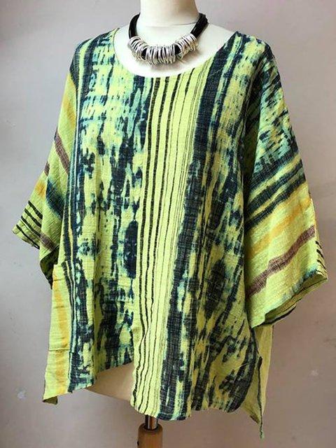 Casual Ombre/tie-Dye Half Sleeve Tops