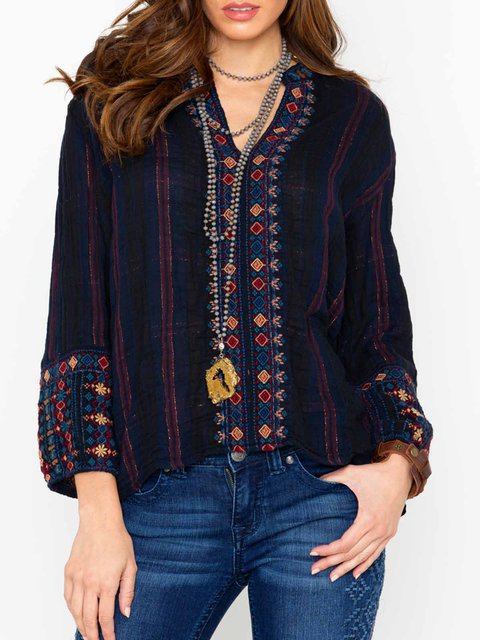 Long Sleeve V Neck l Blouses