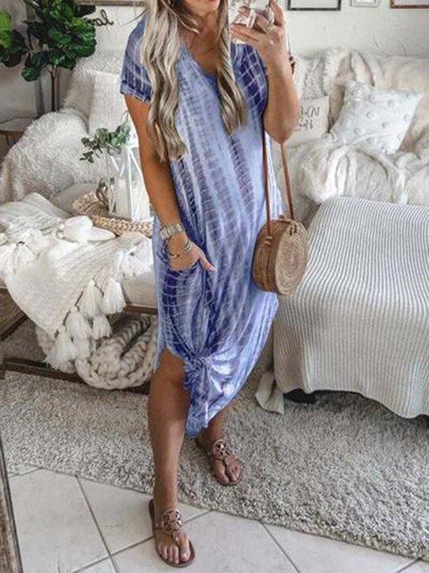 Short Sleeve Mid-Calf Split Plain Dress