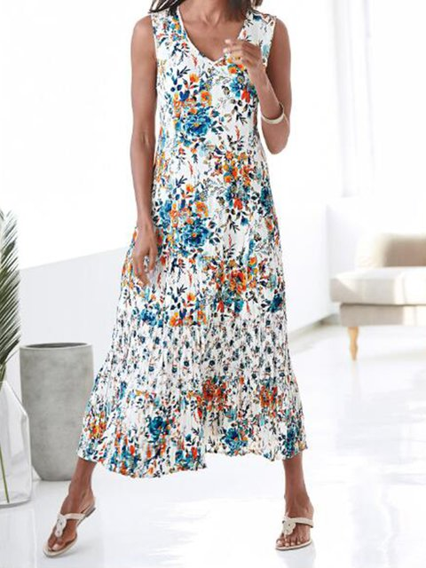 Boho Cotton-Blend Sleeveless V Neck Dresses